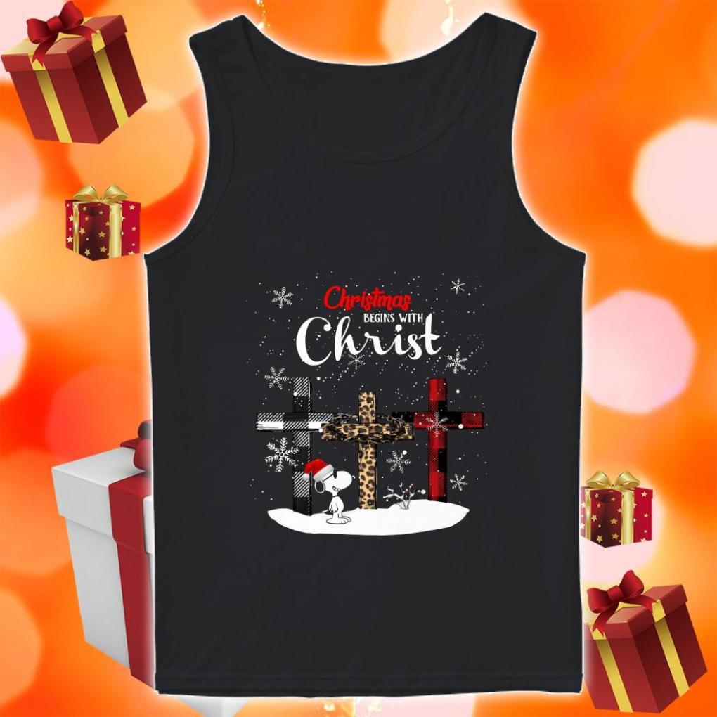 Snoopy Christmas begins with Christ Wonderful Cross Plaid tank top