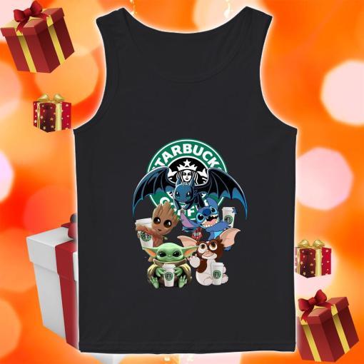 Baby Yoda Baby Groot and Toothless Stitch Gizmo hug Starbucks Coffee tank top