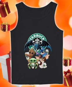 Baby Yoda Baby Groot and Toothless Stitch Gizmo hug Starbucks Coffee tank top