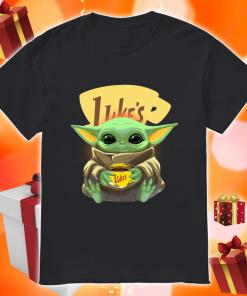 Baby Yoda hug Luke's Coffee shirt