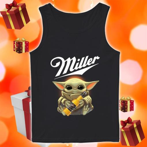 Baby Yoda hug Miller Genuine Draft tank top