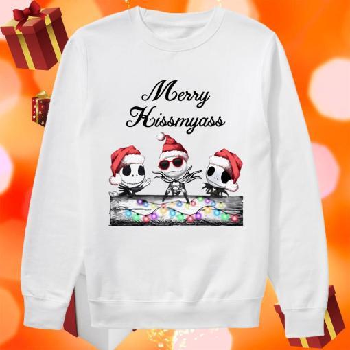Merry Kissmyass Jack Skellington Santa Claus sweater