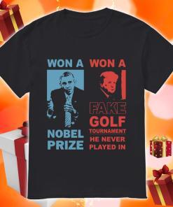Obama and Donald Trump won a nobel prize won a fake golf tournament shirt
