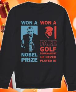Obama and Donald Trump won a nobel prize won a fake golf tournament sweater