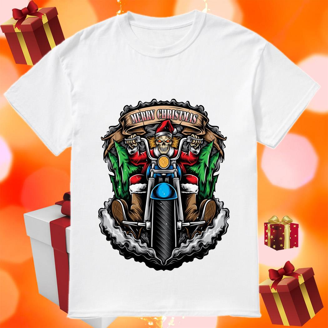 Skeleton Santa Claus biker Merry Christmas shirt