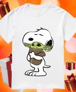 Snoopy hugging Baby Yoda Shirt
