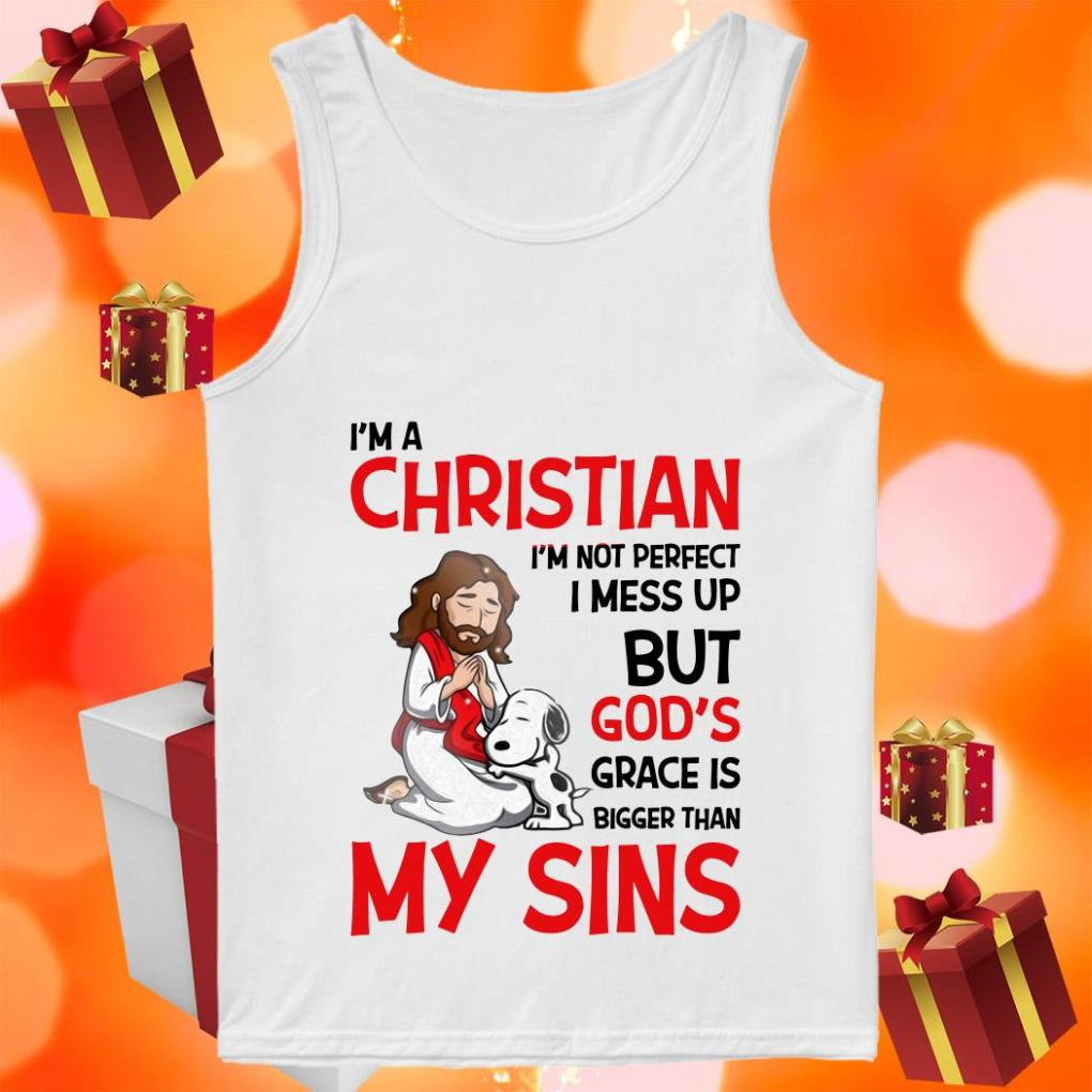Snoopy I'm a Christian Grace is bigger than my Sins tank top