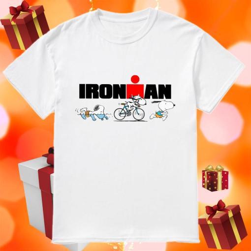 Snoopy Ironman sports swimming riding bike and running shirt
