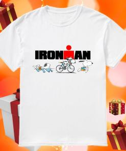 Snoopy Ironman sports swimming riding bike and running shirt