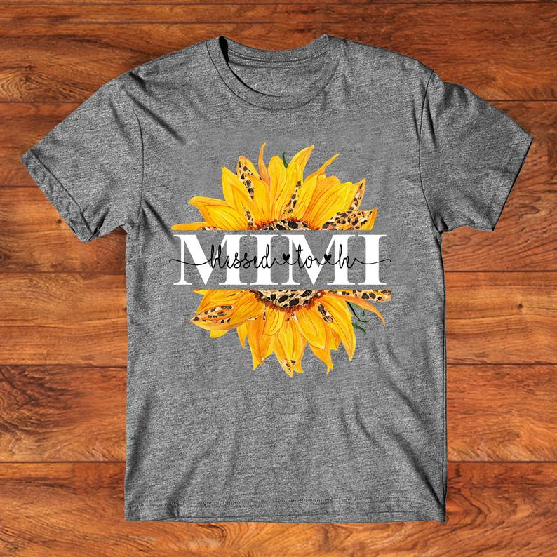 Mimi Sunflower Personalized T-Shirt, Perfect Gift for Mother _ Grandmother 6 Picturestees Clothing - T Shirt Printing on Demand