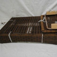 Spring Haven Brown All Weather Wicker Patio Sofa Beds With Storage Underneath Uk Chaise Lounge