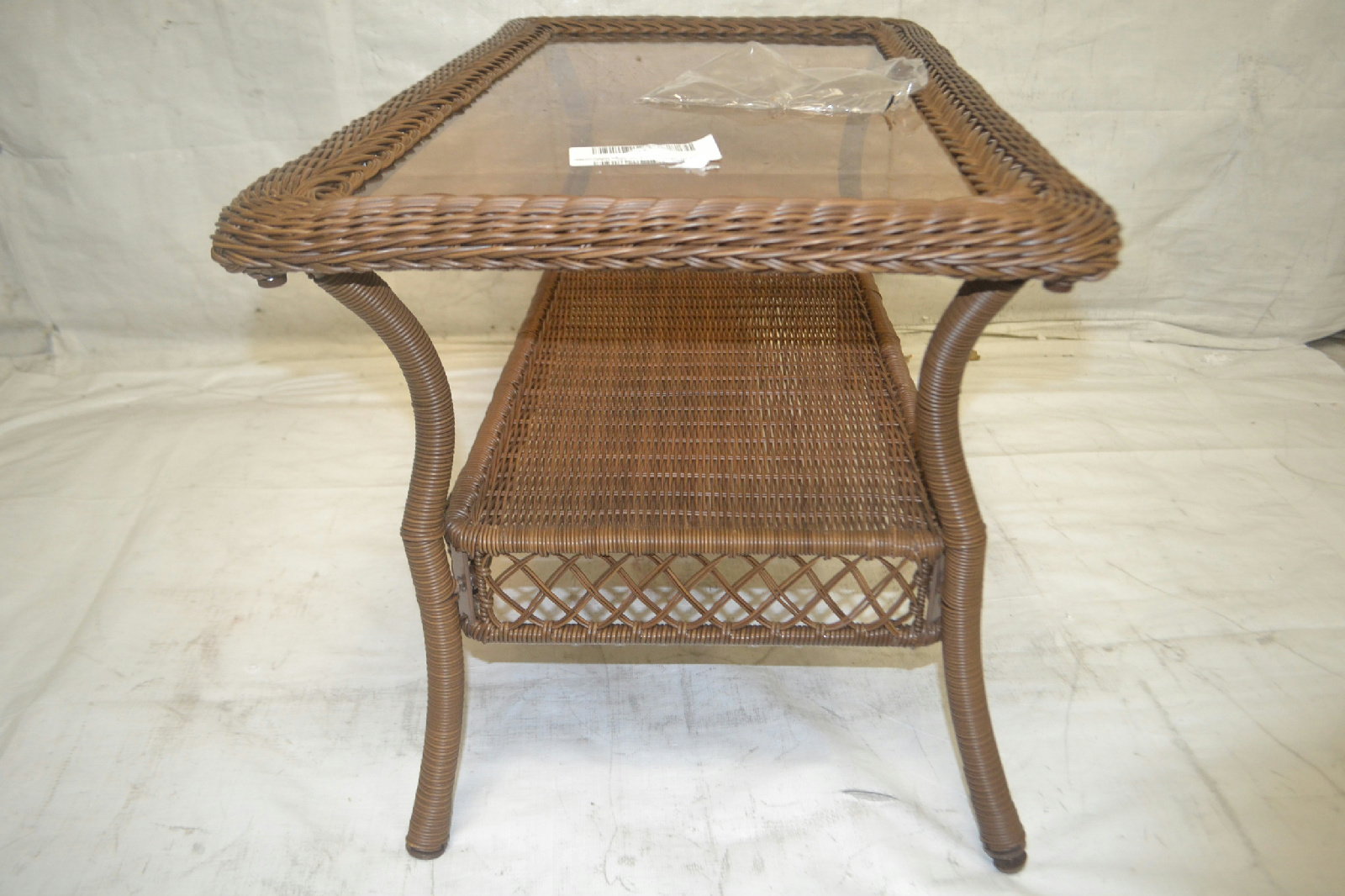 spring haven brown all weather wicker patio sofa clic clac bed with storage coffee table