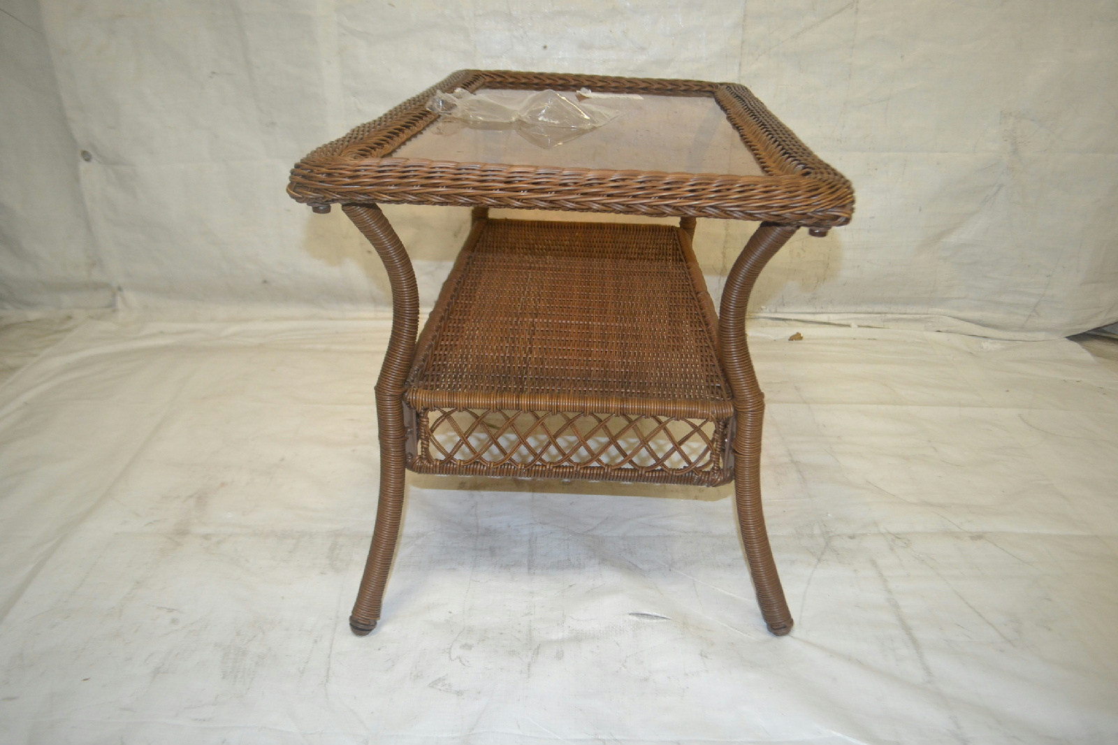 spring haven brown all weather wicker patio sofa living room malaysia coffee table
