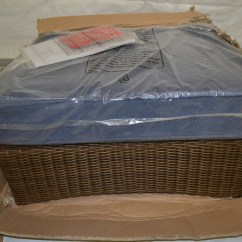 Spring Haven Brown All Weather Wicker Patio Sofa Versace Cushions Ottoman With