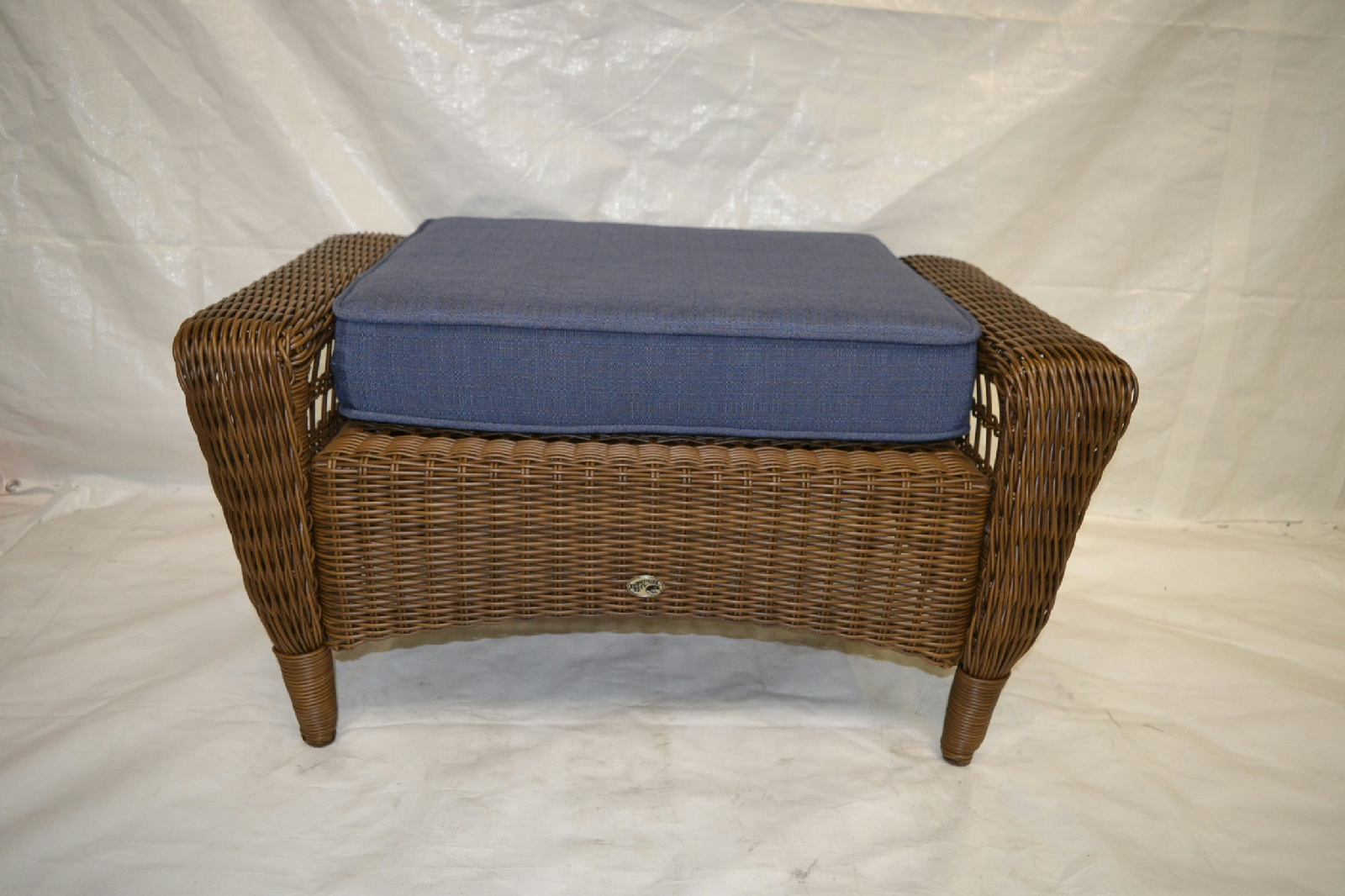 spring haven brown all weather wicker patio sofa cappuccino finish half moon console entry table ottoman with