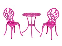 Meadow Dcor Bistro Table and Chair Set, Pink Tulip   eBay