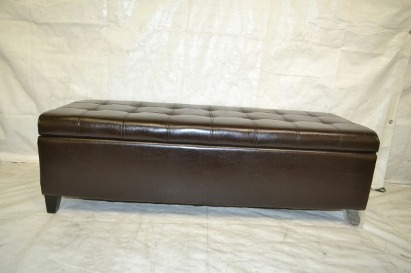 Adeco Brown Bonded Leather Rectangular Tufted Storage Ottoman Footstool 51x19