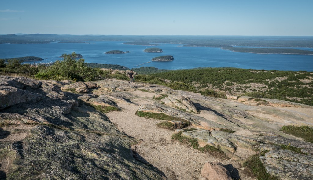 The view from Cadillac Mountain in Acadia National Park looks out over the islands in Bar Harbor.