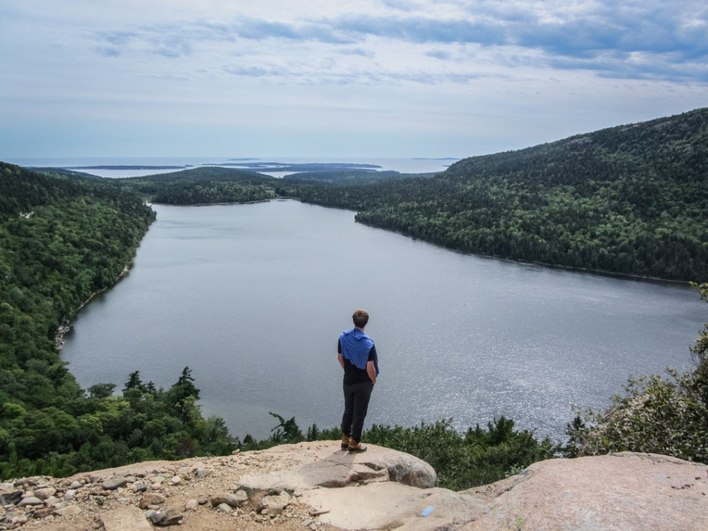Enjoying the view from Cadillac Mountain in Acadia National Park