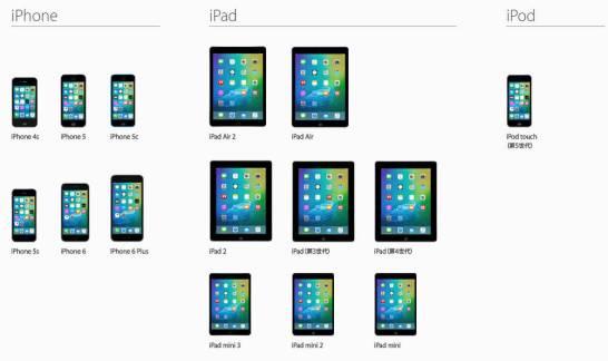 iOS9 対応機種 - Apple