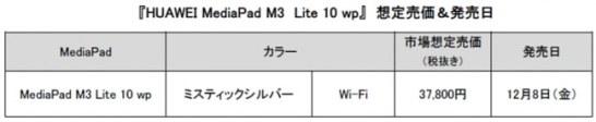HUAWEI MediaPad M3 Lite 10 wp - 想定売価