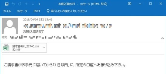 VBA/TrojanDownloader.Agentが添付されたメールの例