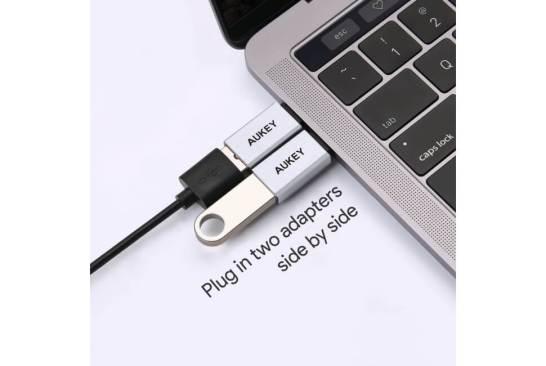 【AUKEY限定SALE!早い者勝ち】USB C to USB A変換アダプタ2点セットCB-A22に限定2色(シルバー&グレー)が半額OFF!
