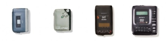 左から)TPS-L2 (5,400円)、WM-2 (5,400円)、DATウォークマン TCD-D3 (5,940円)、MDウォークマン MZ-1 (5,940円)