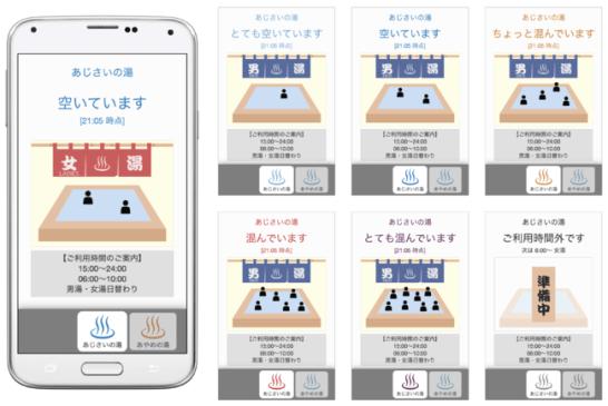 混雑状況の表示画面。スマートフォンでQRコードを読み取るだけで確認できる。