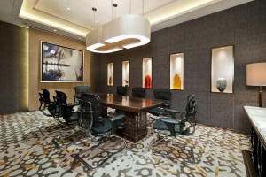 Business meeting room with carpet and bright lit