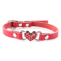 Cute Small Pet Dog Cat Puppy Love Heart Bling Crystal PU ...
