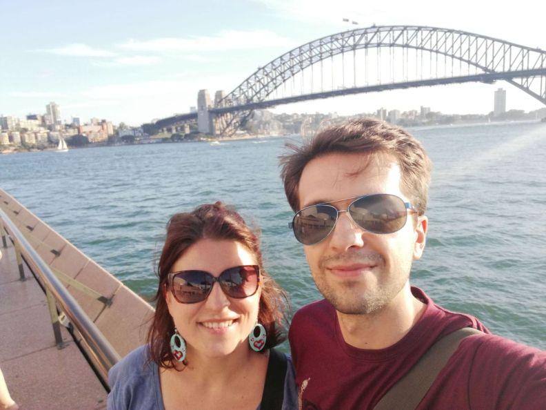 Harbour bridge od opery. Pozorní si všimnú odraz okuliarov