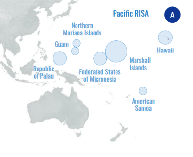 Map showing Pacific RISA action areas