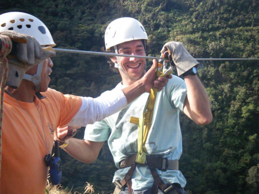 Inca Jungle Trail - Getting on the zipline.