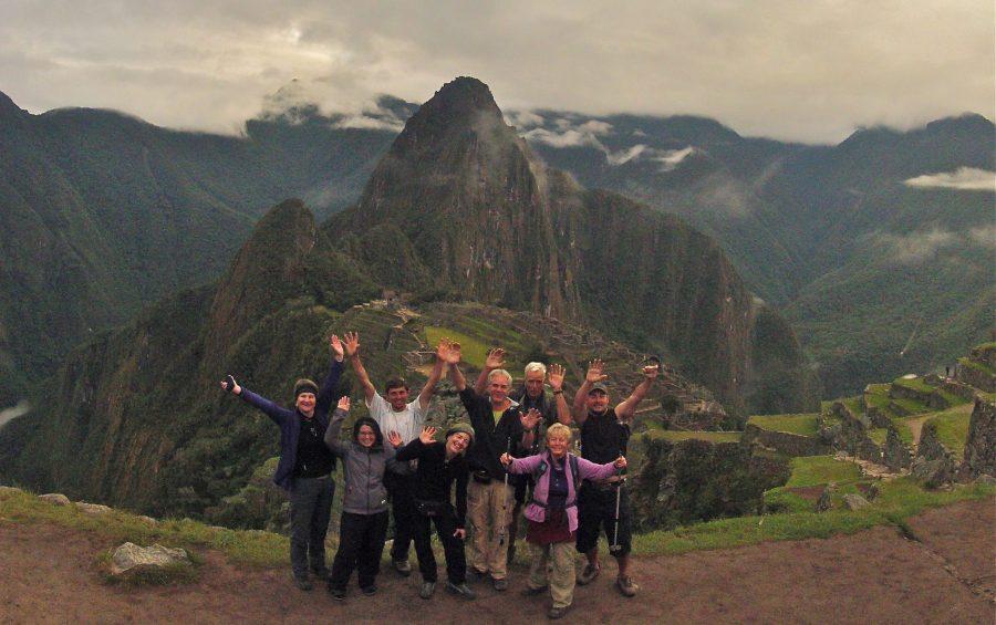 Inca Jungle Trail - Trekkers celebrate being at Machu Picchu.