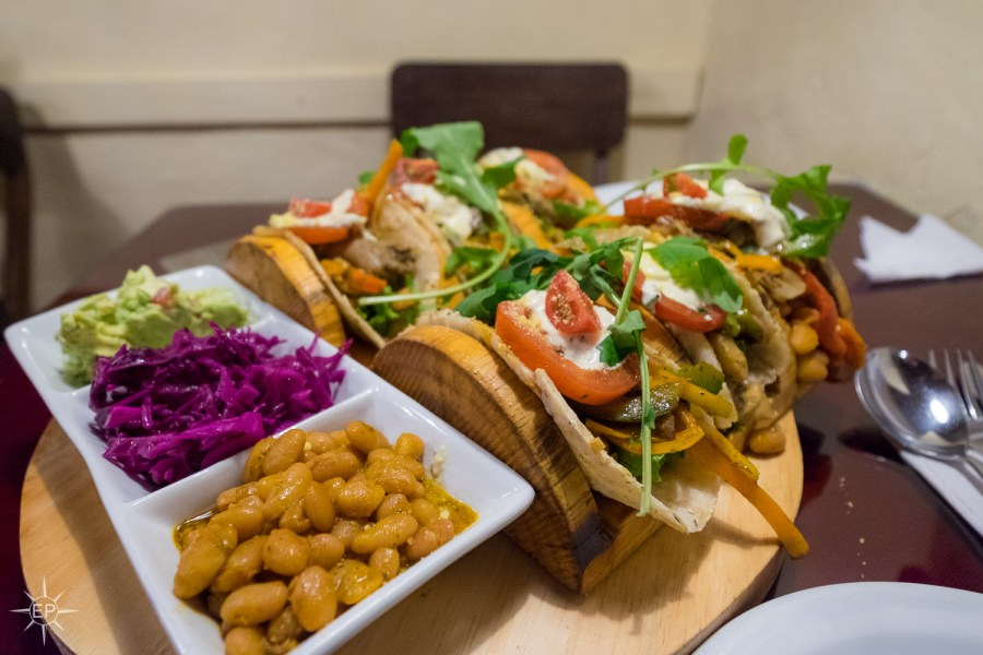Vegetarian food in Peru - Green Point's famous tacos for two.