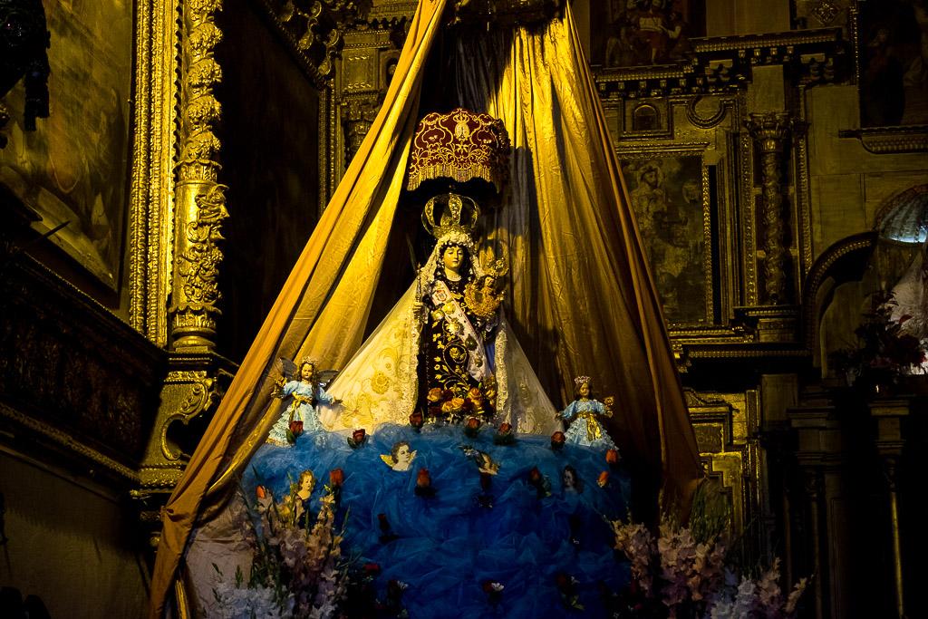 The Virgin Carmen on her pedestal in church