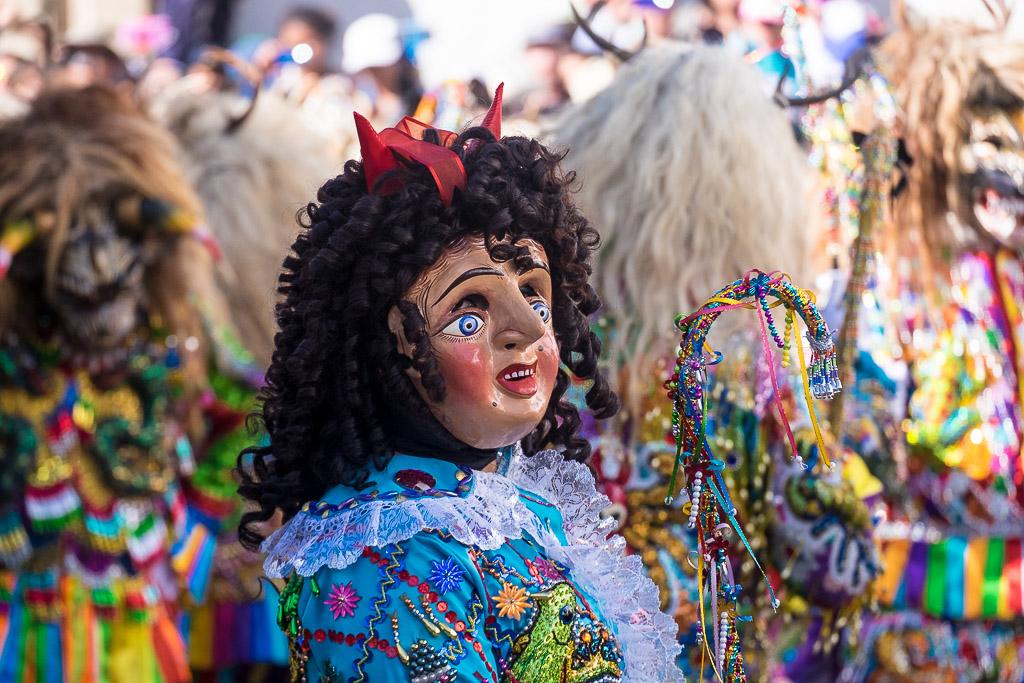Colorful character at Virgin del Carmen
