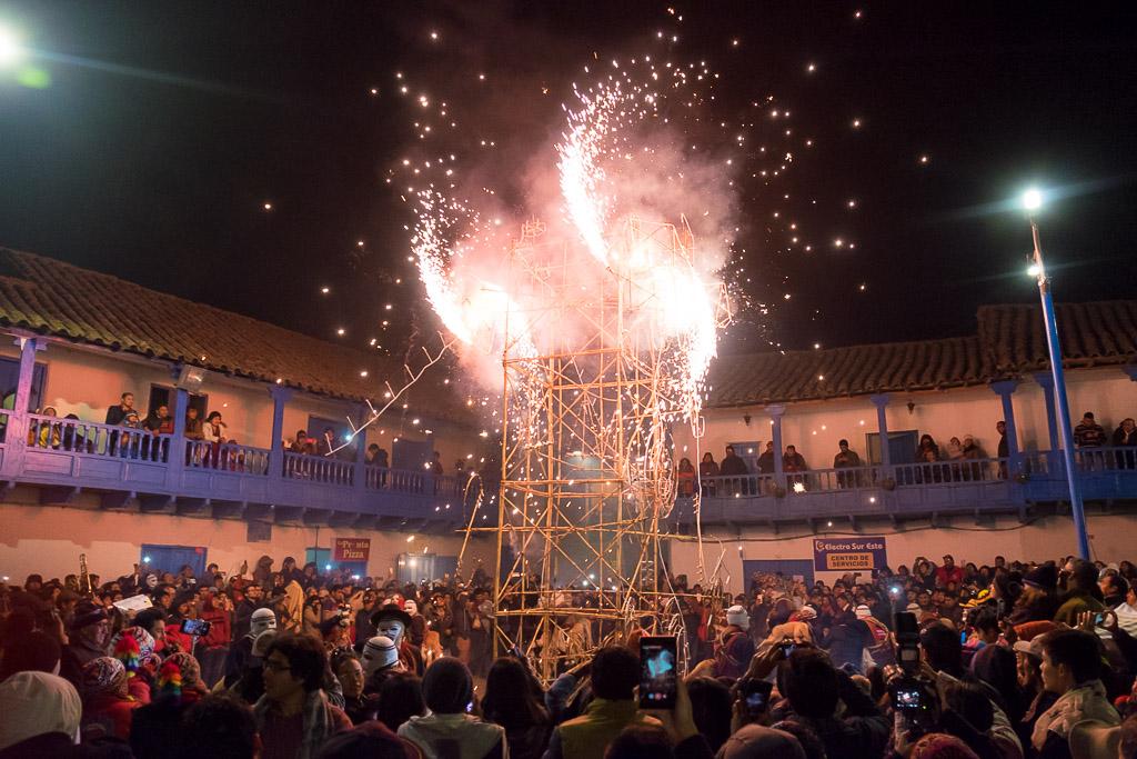 Fireworks display in Paucartambo's main plaza