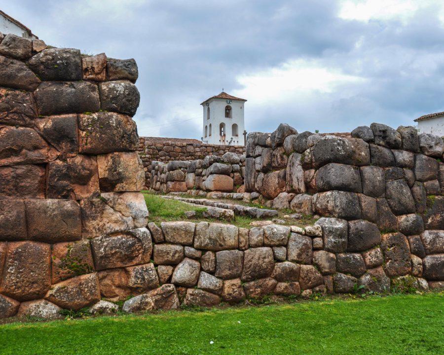 Chinchero Incas ruins along with colonial church, Peru.