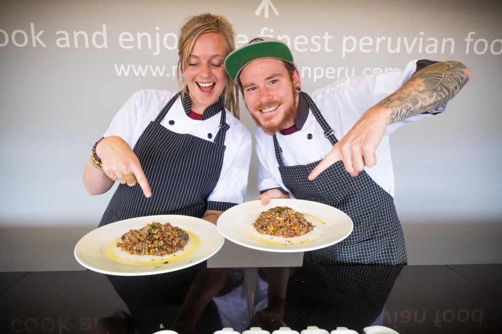 Cooking class in Cusco - Kristy & Jarryd display their mushroom quinotto.