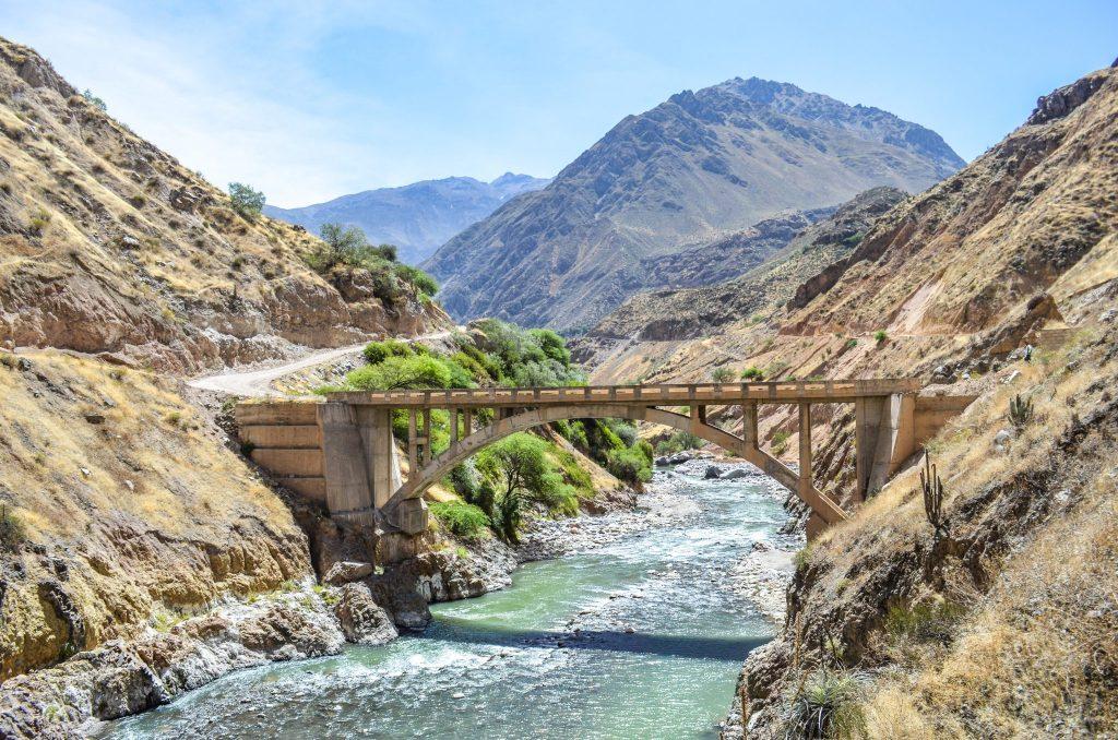 Colca Canyon trek - Rio Colca and bridge.