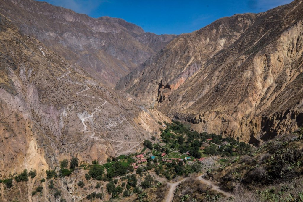 Colca Canyon trek - Sangalle with trekking path.
