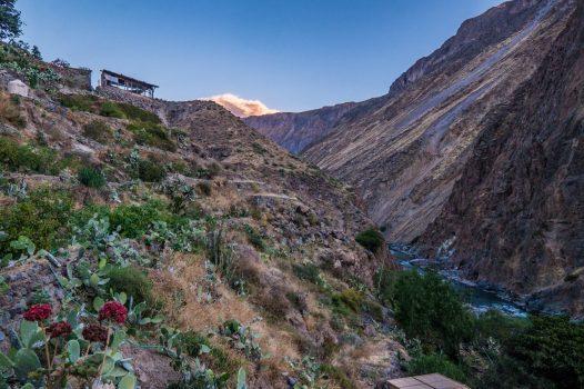 Colca Canyon trek - Sunset at Llahuar Lodge.