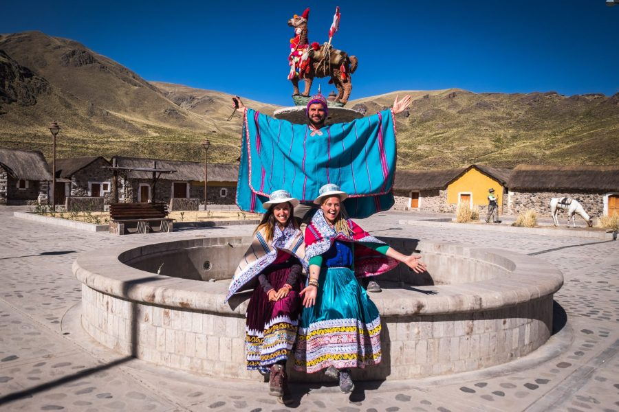 Homestay tours in Colca Canyon - Tourists in traditional dress in Sibayo.