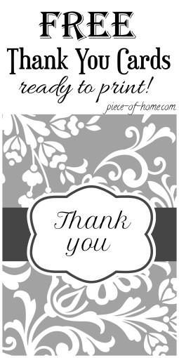 Thank You Cards Printable Piece Of Home
