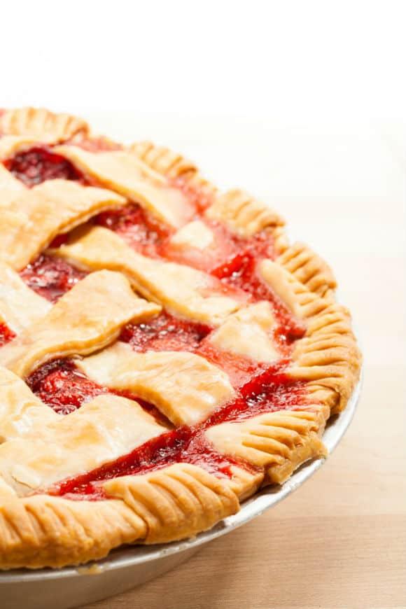 strawberry rhubarb pie side view