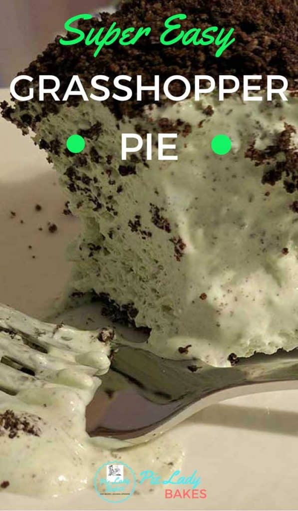 Pinterest image of super easy no bake grasshopper pie, with fork on white plate
