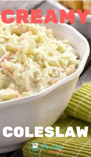 coleslaw in white bowl with green napkin and text is Creamy Coleslaw in white and red