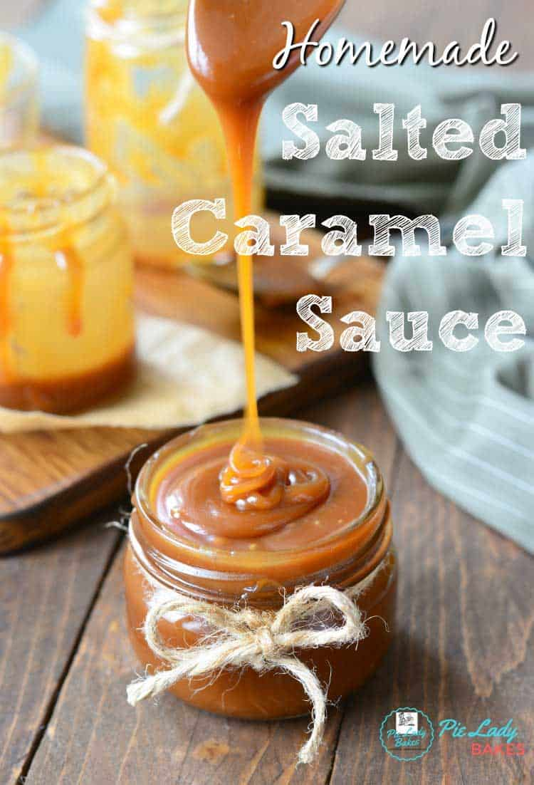 salted caramel sauce in small mason jar with jute tied around in a bow. thick salted caramel, homemade salted caramel sauce, easy salted caramel sauce recipe